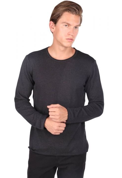 Crew Neck Anthracite Men's Sweater