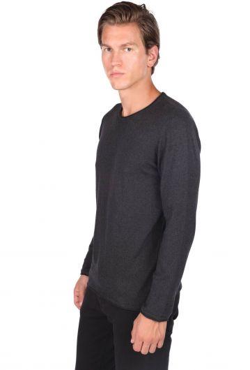 MARKAPIA MAN - Мужской свитер антрацитового цвета с круглым вырезом (1)