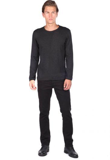 Мужской свитер антрацитового цвета с круглым вырезом - Thumbnail