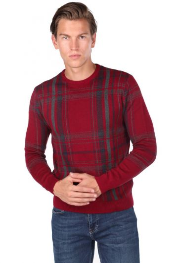 Crew Neck Claret Red Men's Sweater - Thumbnail