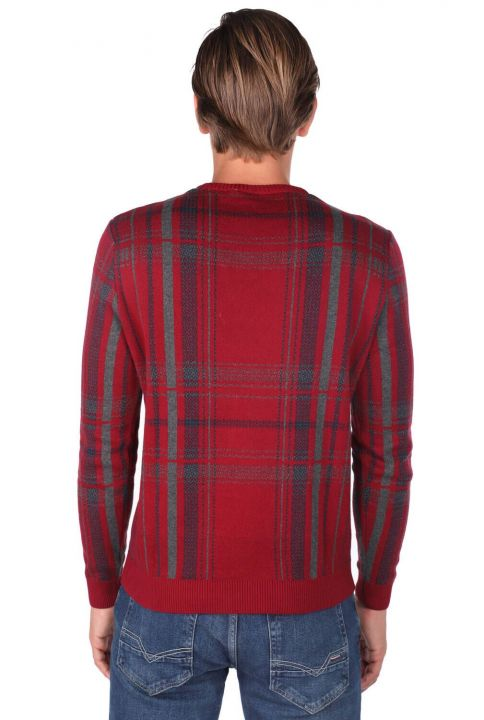 Crew Neck Claret Red Men's Sweater