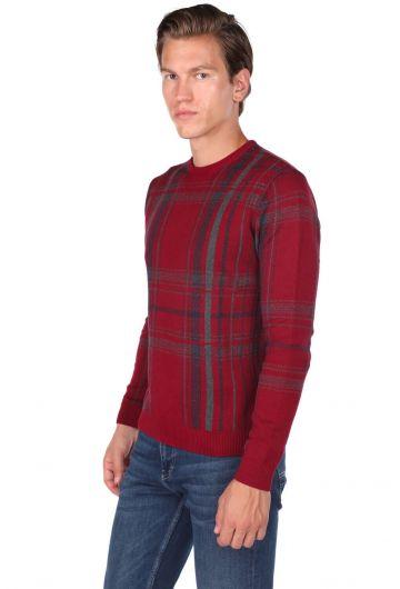 MARKAPIA MAN - Красный мужской свитер бордового цвета с круглым вырезом (1)
