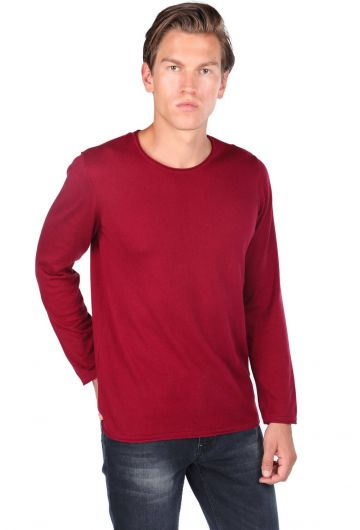 Red Men's Crew Neck Sweater - Thumbnail