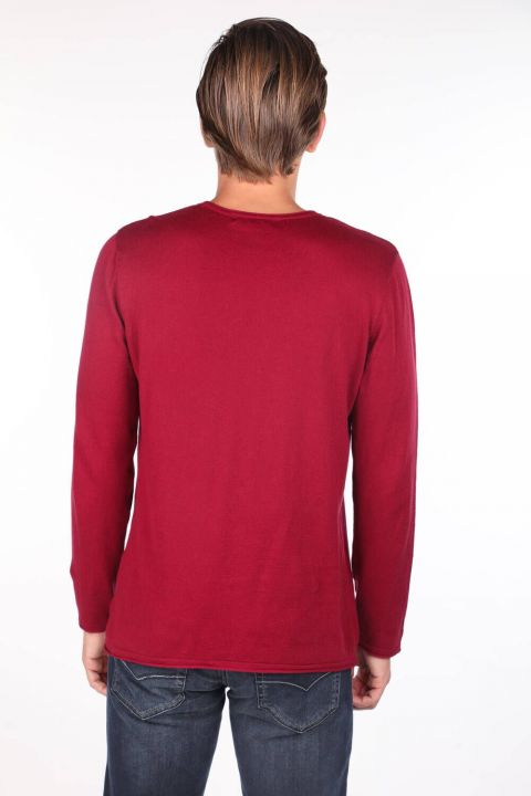 Red Men's Crew Neck Sweater