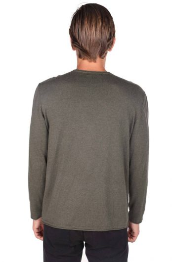 Slim Khaki Men's Crew Neck Knitwear Sweater - Thumbnail