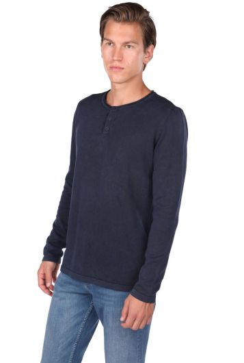 Crew Neck Buttoned Sweatshirt - Thumbnail
