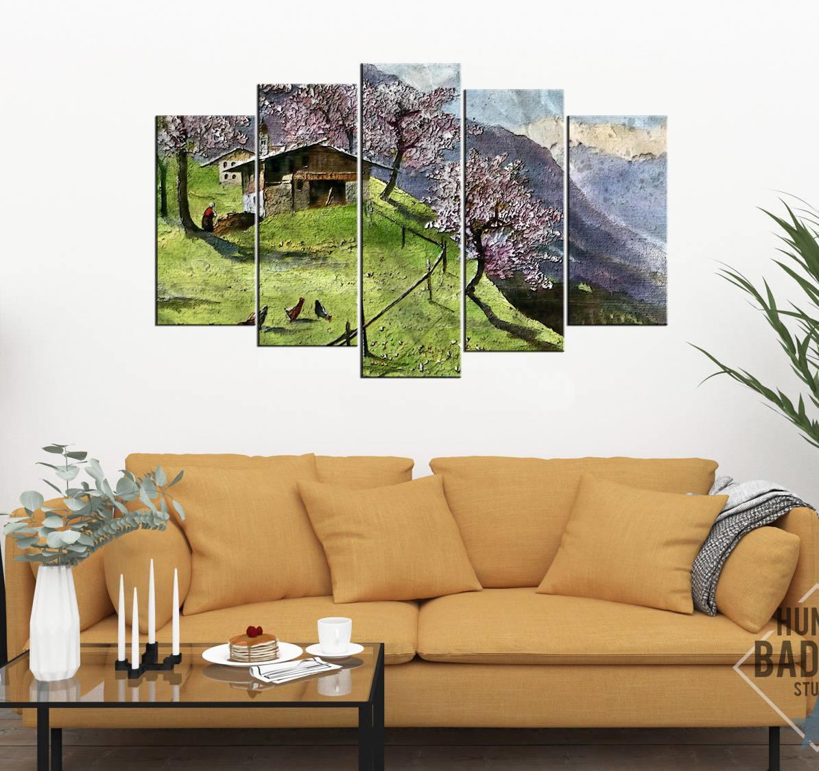 Dağ Evi Manzaralı 5 Parçalı Mdf Tablo-3564