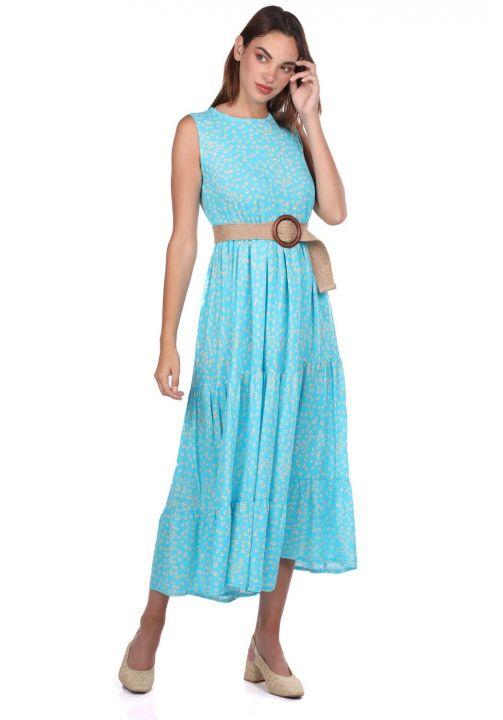 Платье без рукавов с рисунком ромашки