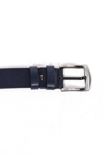 أزرق كحلي حزام جلد طبيعي للرجال - Thumbnail