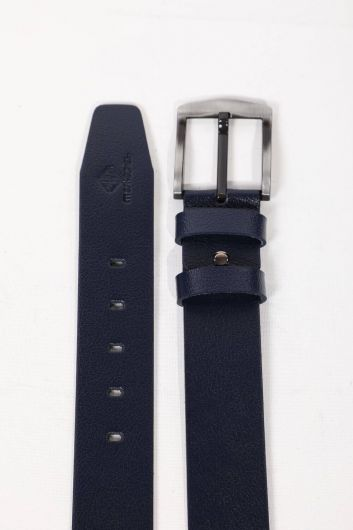 MARKAPIA MAN - Navy Blue Plain Men's Genuine Leather Belt (1)
