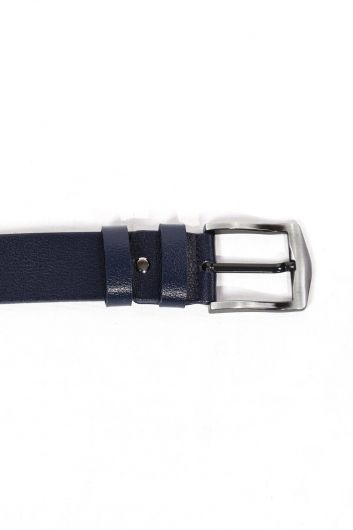 Темно-синий простой мужской ремень из натуральной кожи - Thumbnail