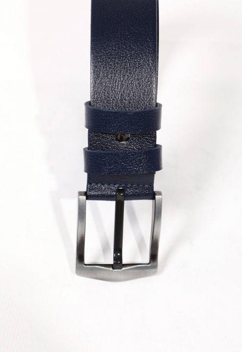 Темно-синий простой мужской ремень из натуральной кожи