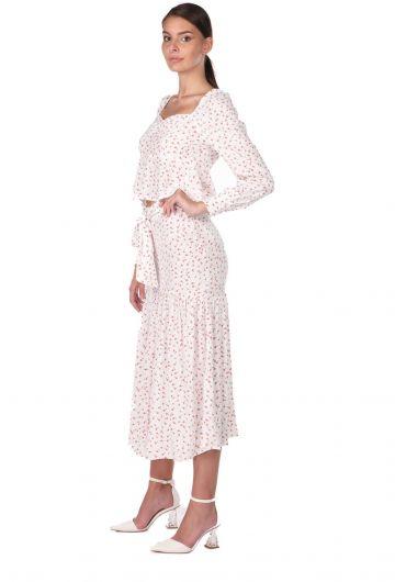 MARKAPIA WOMAN - Kendinden Kemerli Desenli Takım Elbise (1)
