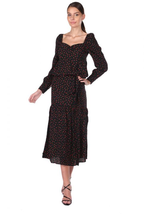 Kendinden Kemerli Desenli Takım Elbise