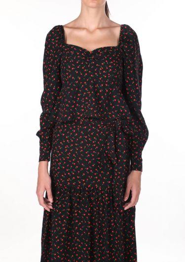 Kendinden Kemerli Desenli Takım Elbise - Thumbnail
