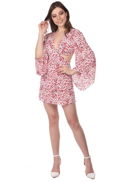 Sırt Dekolteli Desenli Mini Elbise
