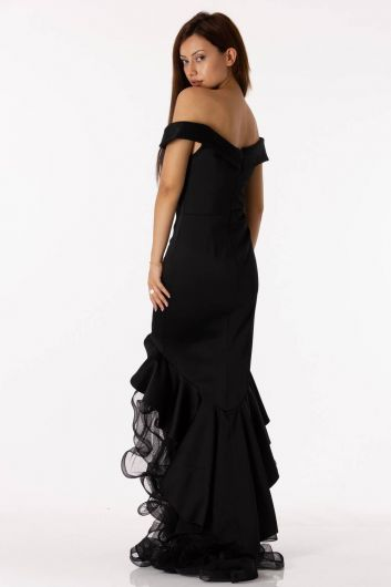 shecca - Low Shoulder Skirt Ruffled Black Satin Evening Dress (1)