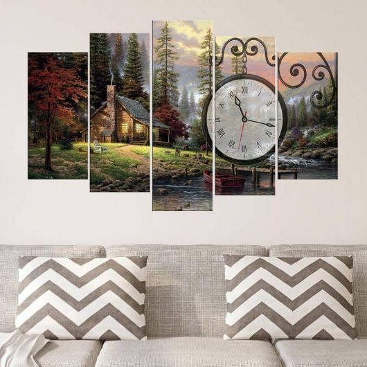 Doğa Evi 5 Pieces Mdf Clock Table - Thumbnail