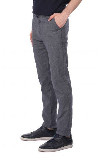 MARKAPIA MAN - Woven Navy Blue Chino Men's Trousers (1)
