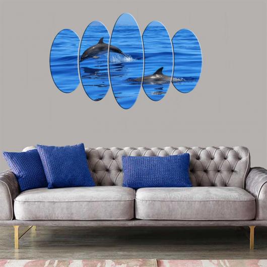 لوحة أسماك الدلفين 5 قطع Mdf - Thumbnail