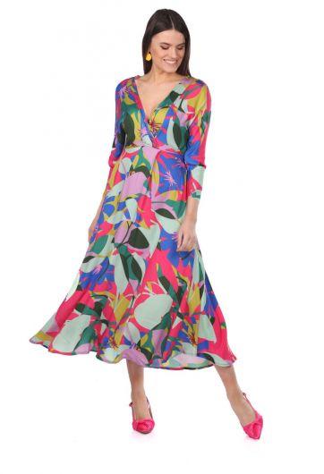 فستان مزخرف بألوان مختلطة بياقة مزدوجة الصدر - Thumbnail
