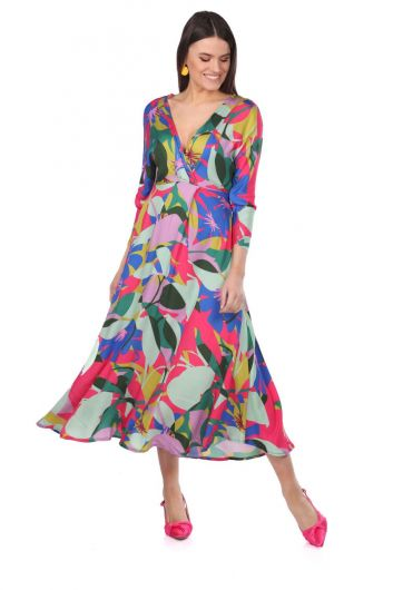 Double Breasted Collar Mixed Color Patterned Dress - Thumbnail