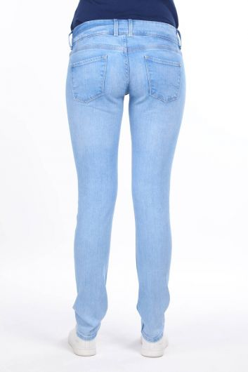 Double Buttoned Low Waist Jean Trousers - Thumbnail
