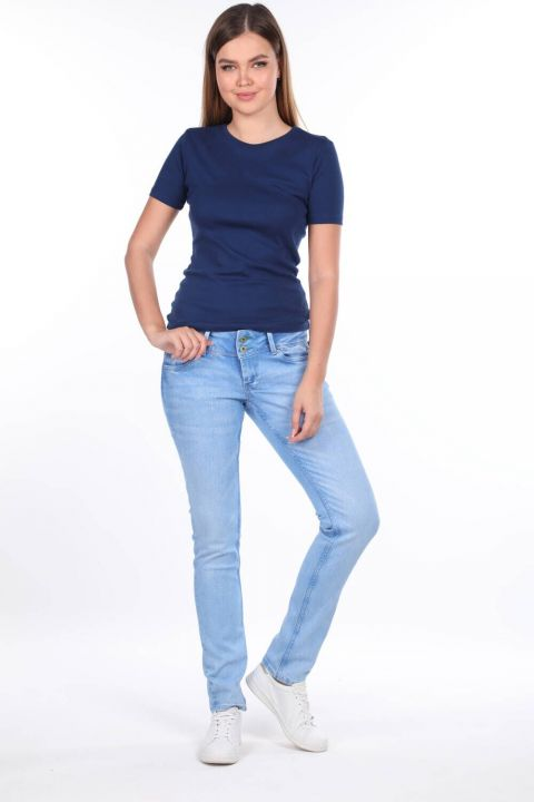 Джинсовые брюки с заниженной талией и двойной пуговицей