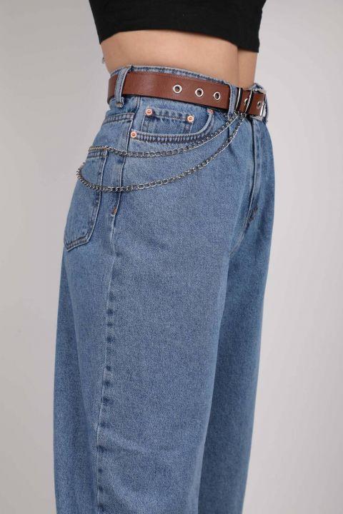 حزام جلد بسلسلة مزدوجة