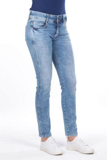 بنطلون جينز بخصر متوسط مزين بأزرار مزدوجة - Thumbnail