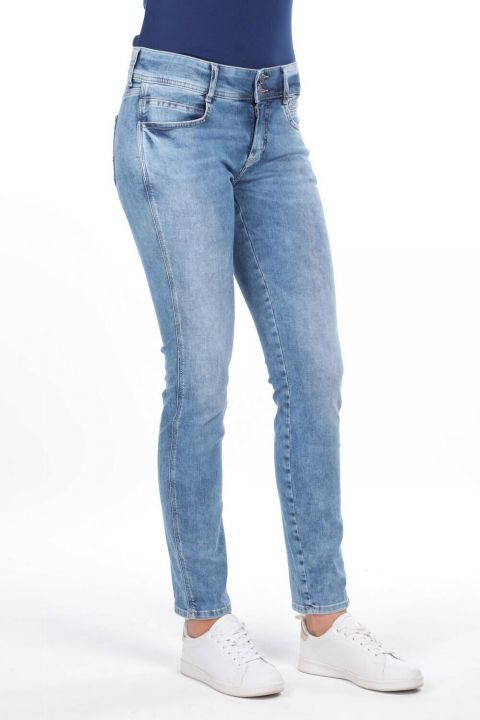 بنطلون جينز بخصر متوسط مزين بأزرار مزدوجة