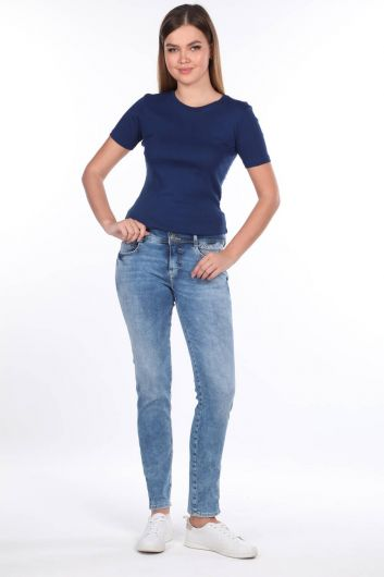 Double Button Detailed Mid Waist Jean Trousers - Thumbnail