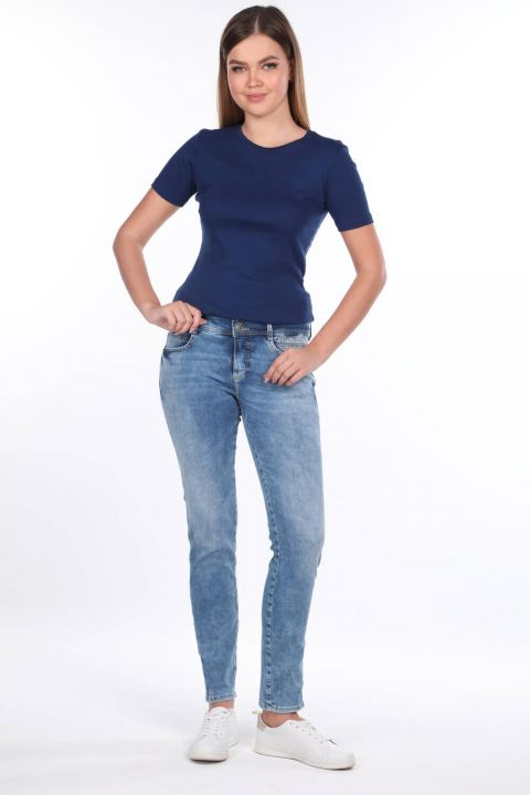 Double Button Detailed Mid Waist Jean Trousers