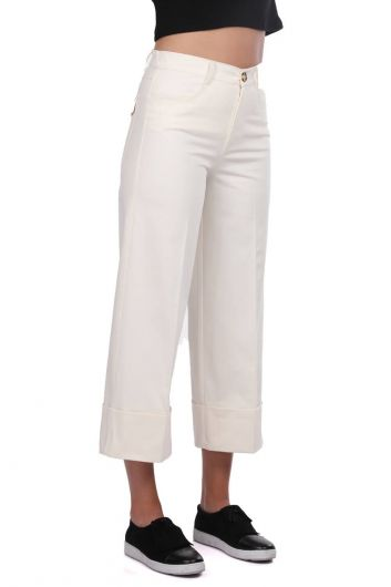 MARKAPIA WOMAN - Double Leg Ecru Jean Trousers (1)