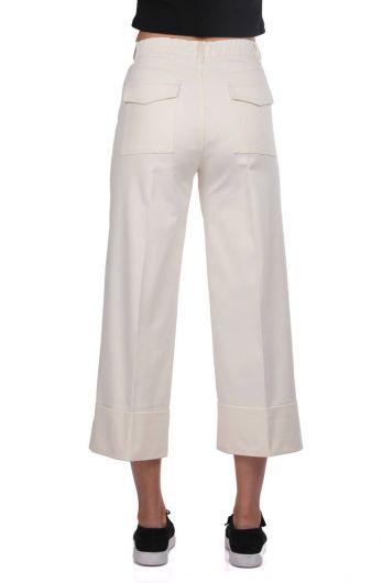 Джинсовые брюки с двойными штанинами из экрю - Thumbnail
