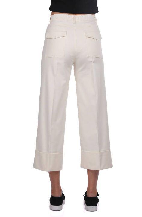 Джинсовые брюки с двойными штанинами из экрю