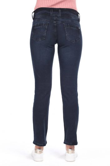 Double Buttoned High Waist Jean Trousers - Thumbnail