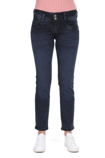 Джинсовые брюки с двойной пуговицей и высокой талией - Thumbnail
