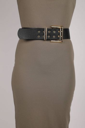 حزام جلد مزدوج الزر - Thumbnail
