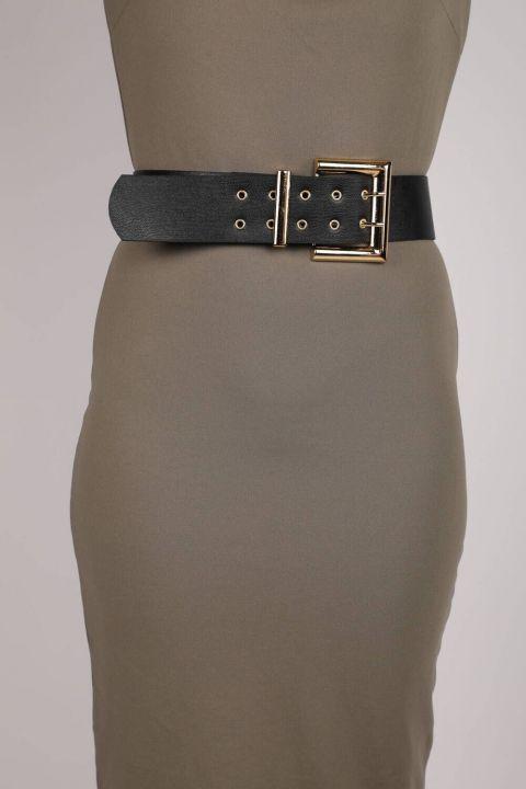حزام جلد مزدوج الزر