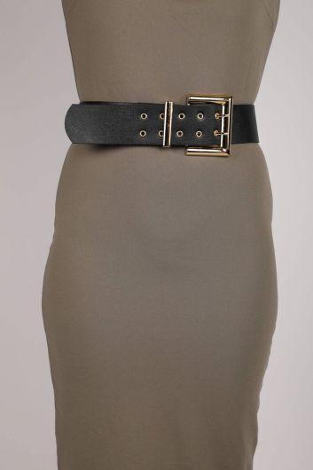 Double Button Leather Belt - Thumbnail