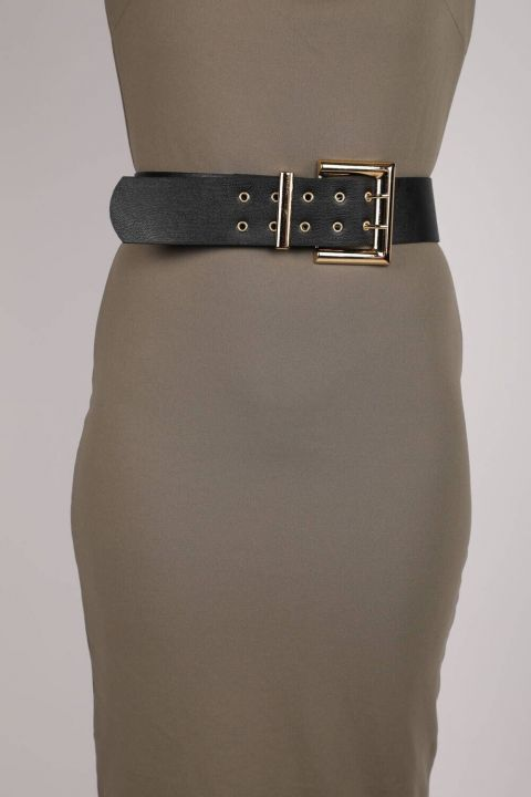 Double Button Leather Belt