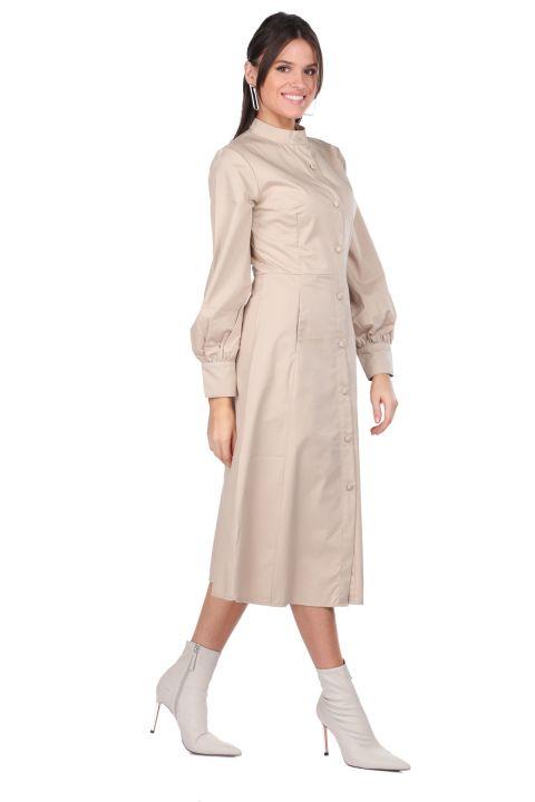 Button Down Collar Beige Women Dress
