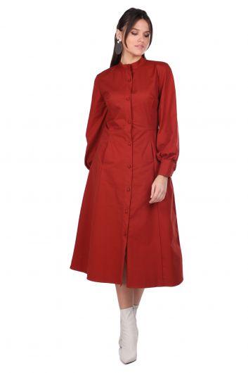 Женское платье с круглым вырезом на пуговицах и плиткой - Thumbnail