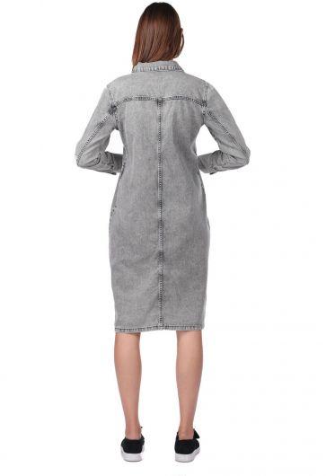 فستان جينز رمادي مزين بأزرار - Thumbnail