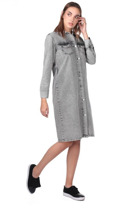 Button Detailed Gray Jean Dress