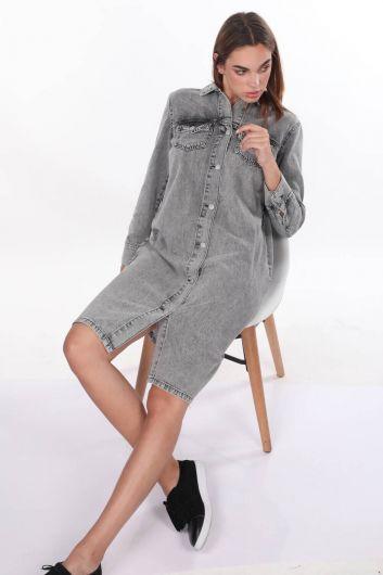Серое джинсовое платье с пуговицами - Thumbnail