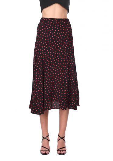 Button Detailed Polka Dot Midi Skirt - Thumbnail
