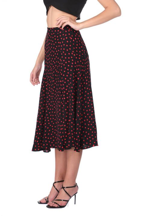 Button Detailed Polka Dot Midi Skirt