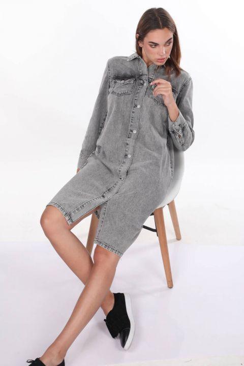 Düğme Detaylı Gri Jean Elbise